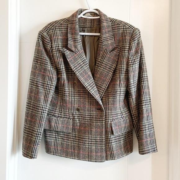 Vintage plaid fitted wool blazer